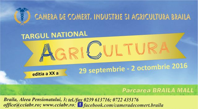 Târgul AgriCultura 29 septembrie - 2 octombrie 2016