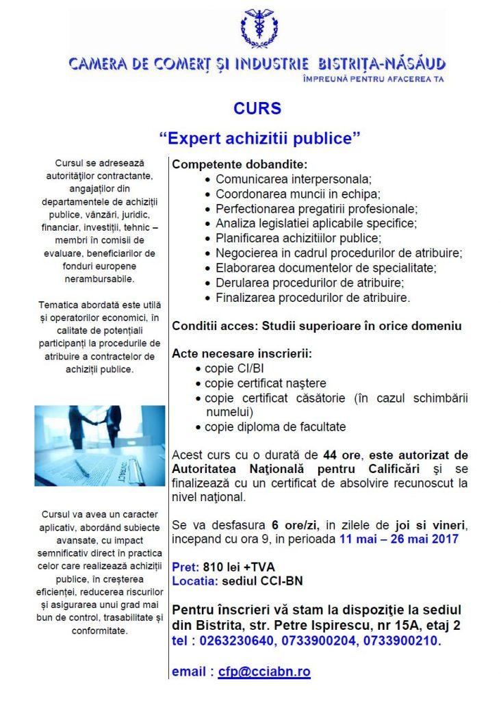 Curs Expert achizitii publice - 16.11.2017
