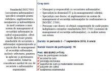 Curs  Auditor/Lead Auditor în Sistemul de Management al Securităţii Informaţiilor cf. ISO 27001