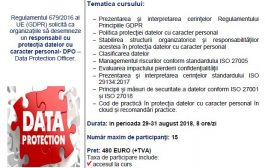 """Curs """"Responsabil cu protecţia datelor cu caracter personal (DPO) conform cerinţelor Regulamentului 679/2016 (GDPR) al UE""""."""