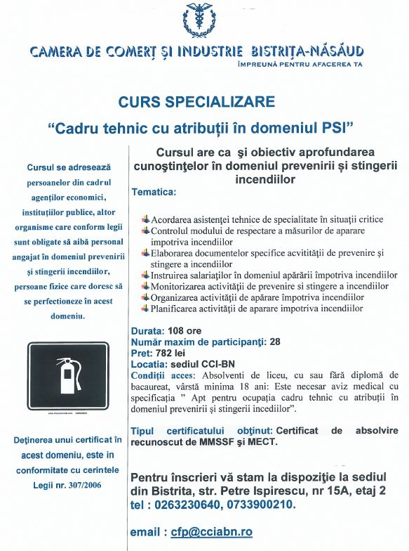 """O nouă serie de curs """"Cadru tehnic cu atribuții în domeniul PSI"""", la Camera de Comerț și Industrie Bistrița-Năsăud"""