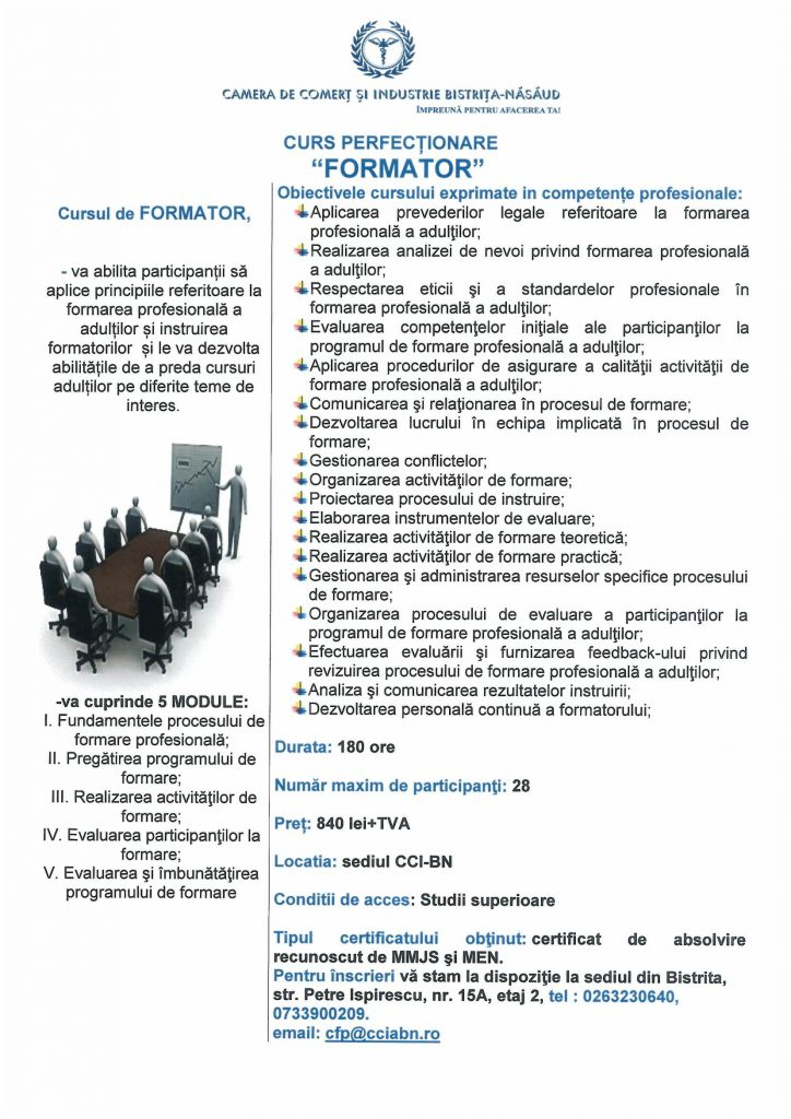 Curs Perfectionare - Formator