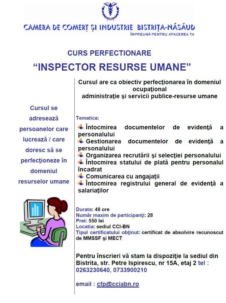 "Curs de perfectionare ""Inspector resurse umane""- COD COR 333304"