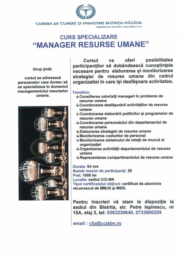 """Curs de specializare """"Manager resurse umane"""""""