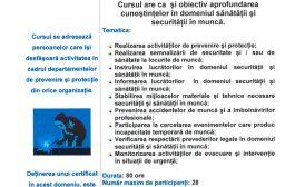 Curs Inspector in Domeniul Sanatatii si Securitatii in Munca