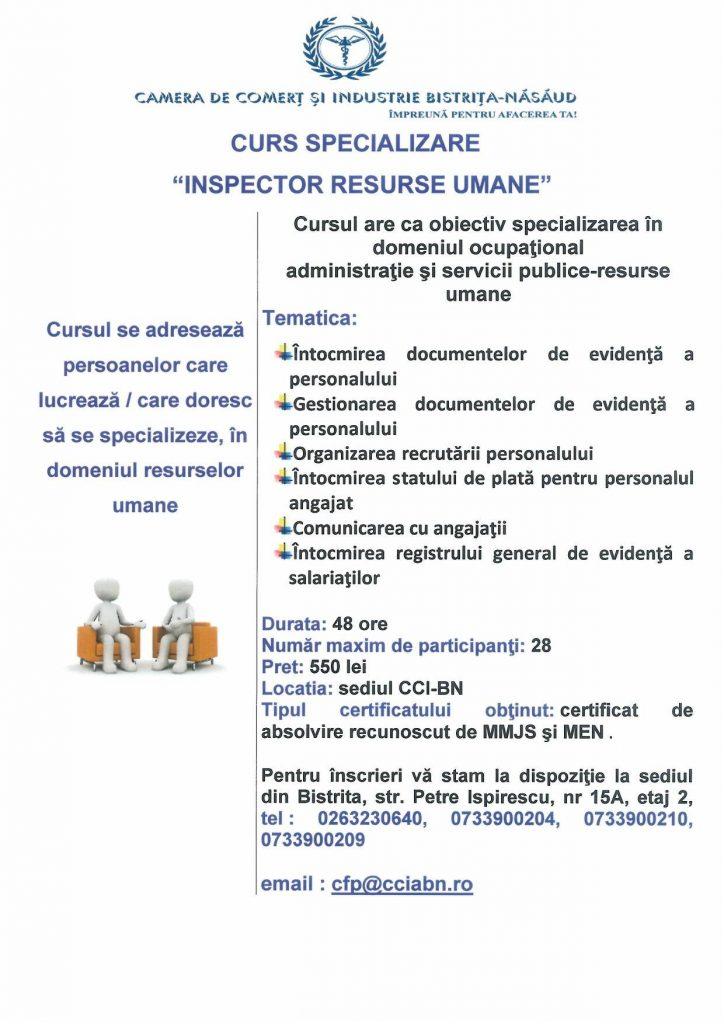 "Curs de specializare -""Inspector resurse umane""- COR 333304"