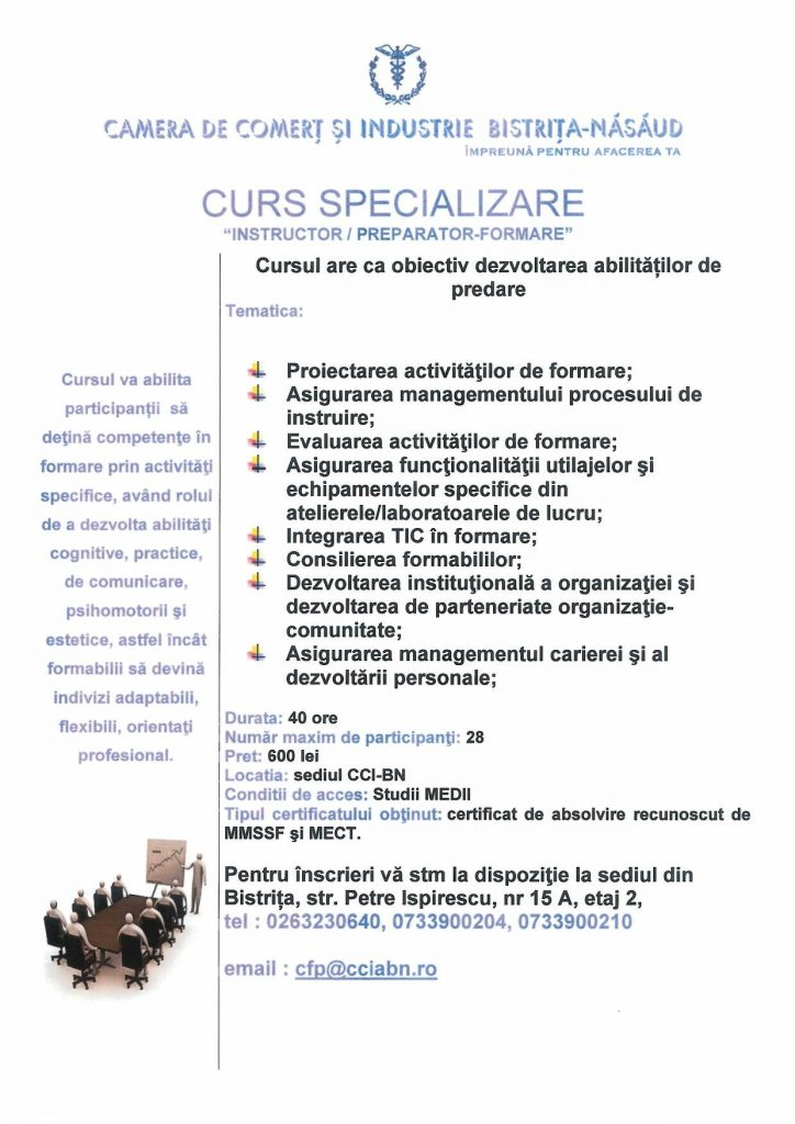 Curs Instructor/Preparator Formare