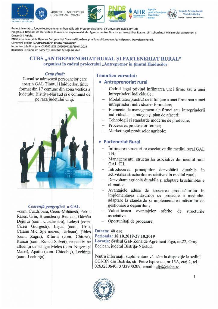 """Curs """"Antreprenoriat rural și parteneriat rural"""""""