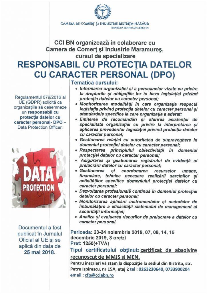 """Curs de specializare """"Responsabil cu protecția datelor cu caracter personal""""- COR: 242231"""