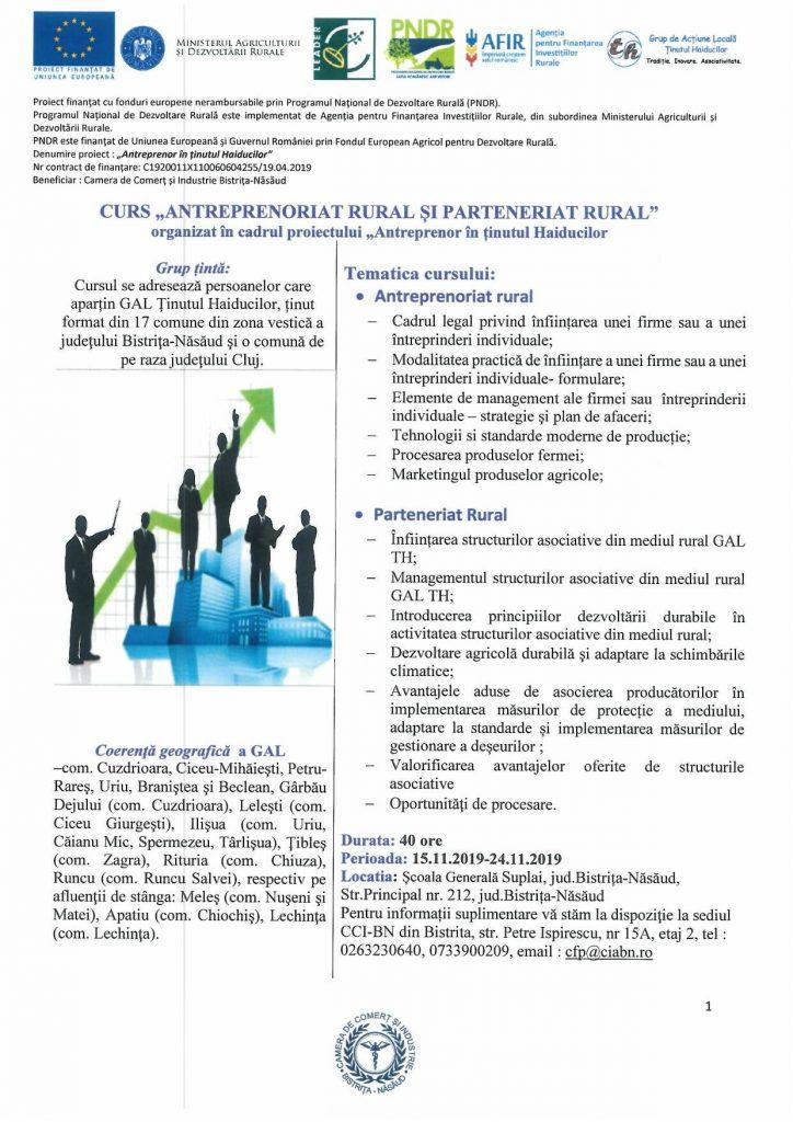 """Curs de """"Antreprenoriat Rural și Parteneriat Rural"""""""