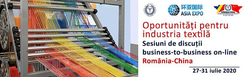 Sesiuni business-to-business România–China dedicate sectorului textilelor și confecțiilor.